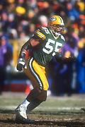 Green Bay Packers linebacker Bernardo Harris (55) during an NFL football game, Sunday, Dec. 30, 2001, in Green Bay, Wisc. The Packers defeated the Vikings 24-13.