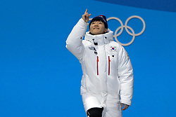 February 18, 2018 - Pyeongchang, South Korea - YIRA SEO of Korea celebrates getting the bronze medal in the Men's 1000m short track speed skating event in the PyeongChang Olympic Games. (Credit Image: © Christopher Levy via ZUMA Wire)