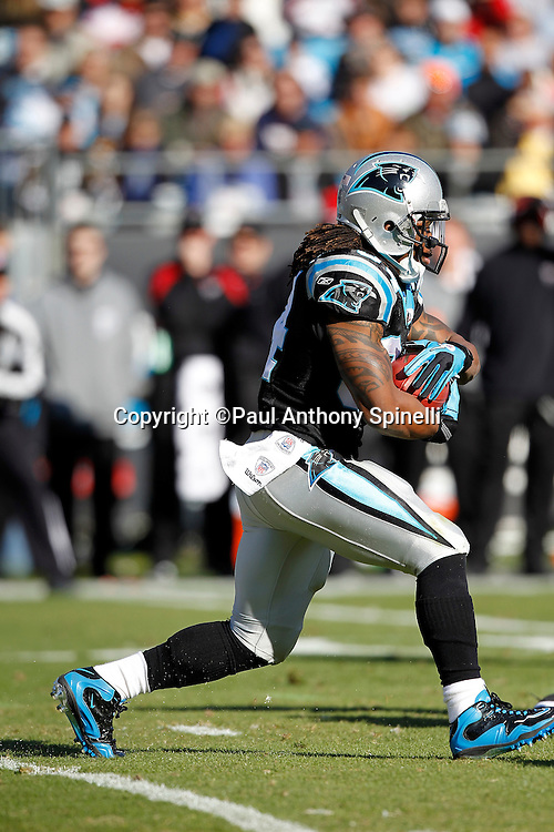 Carolina Panthers running back DeAngelo Williams (34) runs the ball during the NFL week 14 football game against the Atlanta Falcons on Sunday, December 11, 2011 in Charlotte, North Carolina. The Falcons won the game 31-23. ©Paul Anthony Spinelli