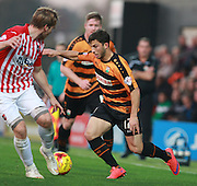 Barnet midfielder Luke Gambin takes on Exeter City defender Christian Ribeiro during the Sky Bet League 2 match between Barnet and Exeter City at The Hive Stadium, London, England on 31 October 2015. Photo by Bennett Dean.