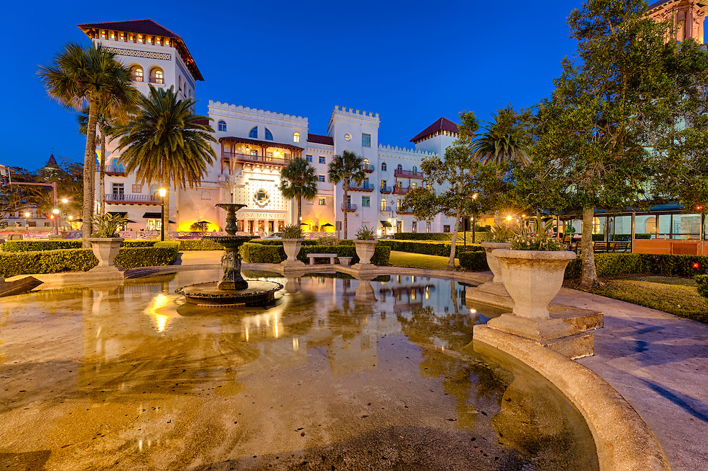 View of St. Augustine, Florida, at dusk.  This square and fountain  are a landmark and used to be  part of the exclusive Ponce de Leon Hotel, built by Henry M. Flagler.