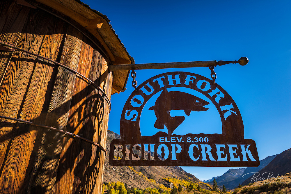 Sign on the South Fork of Bishop Creek, Inyo National Forest, Sierra Nevada Mountains, California USA