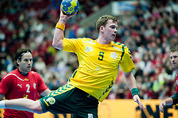 14.01.2011, Malmö Arena, SWE, IHF Handball Weltmeisterschaft 2011, Herren, Dänemark vs Australien im Bild, // Australia 5 Tommy Flecher with shott med skott.Nyckelord: skott, shott // during the IHF 2011 World Men's Handball Championship match Denmark vs Australia at Malmo Arena. EXPA Pictures © 2011, PhotoCredit: EXPA/ Skycam/ Michael Buch +++++ ATTENTION - OUT OF SWEDEN/SWE +++++