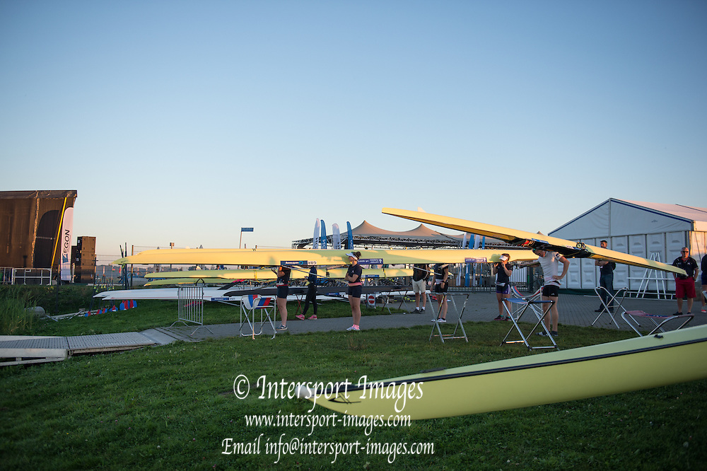Rotterdam. Netherlands. 2016 JWRC, Queueing crews waiting for the course to be opened,  {WRCH2016} Sunrise at the Willem-Alexander Baan.   Wednesday  24/08/2016 <br /> <br /> [Mandatory Credit; Peter SPURRIER/Intersport Images]