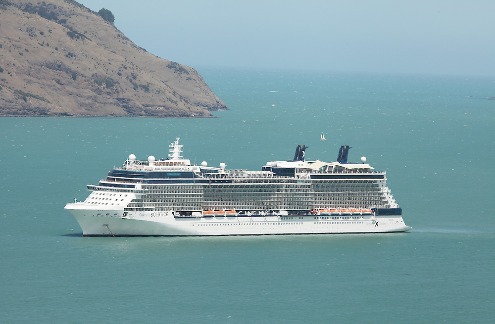 The Celebrity Solstice is a large cruise ship capable of carrying 2850 passengers, anchored in Akaroa Harbour, New Zealand, Thursday, 14 January, 2016.  Credit: SNPA / Pam Carmichael