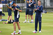 Alastair Cook and Jos Butler of England pictured during training at Lord's, London ahead of the test match series against Pakistan.<br /> Picture by Simon Dael/Focus Images Ltd 07866 555979<br /> 21/05/2018