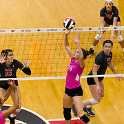 13 October 2018: The San Diego State women's volleyball team dropped a tough match to UNLV in four sets, at Peterson Gym Saturday night.