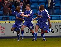 Photo: Alan Crowhurst.<br />Gillingham v Swindon Town. Coca Cola League 1. 14/01/2006. <br />Gills' Darrern Byfield (L) celebrates his goal.