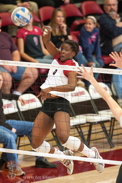 November 25, 2006; Stanford, CA, USA; Stanford Cardinal outside hitter Nji Nnamani (5) during the game against the Washington State Cougars at Maples Pavilion. The Cardinal defeated the Cougars 30-27, 30-23, 30-18.