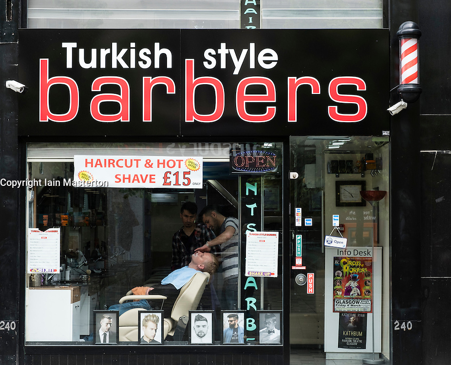 Turkish style Barber shop on Sauchiehall Street in Glasgow, Scotland, United Kingdom