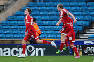 Patrick Bamford of Middlesbrough celebrates scoring his team's second goal against Millwall to make it 0-2 during the Sky Bet Championship match at The Den, London<br /> Picture by David Horn/Focus Images Ltd +44 7545 970036<br /> 06/12/2014