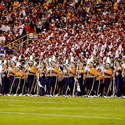 November 3, 2012; Baton Rouge, LA, USA; The LSU Tigers band performs as the Alabama Crimson Tide band is seen in the background prior to kickoff of a game at Tiger Stadium.  Alabama defeated LSU 21-17. Mandatory Credit: Derick E. Hingle-US PRESSWIRE