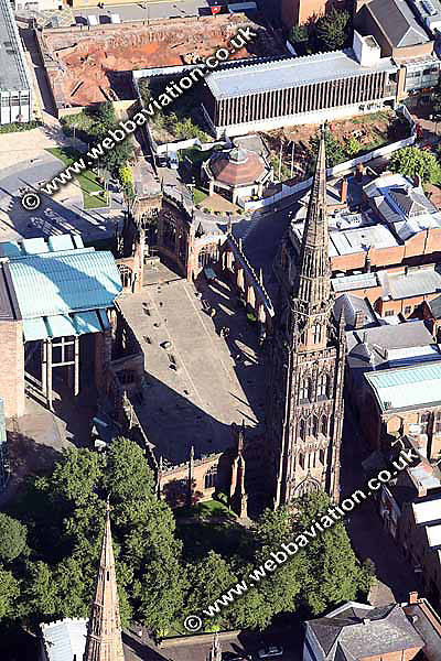 aerial photograph of the Coventry Cathedral  in Coventry  West Midlands England  UK
