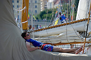 The Tall Ships Races 2013 on Odra River in Szczecin, Poland.<br /> <br /> Poland, Szczecin, August 05, 2013<br /> <br /> Picture also available in RAW (NEF) or TIFF format on special request.<br /> <br /> For editorial use only. Any commercial or promotional use requires permission.<br /> <br /> Mandatory credit:<br /> Photo by © Adam Nurkiewicz / Mediasport