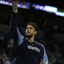 Jan 20, 2010; New Orleans, LA, USA; Memphis Grizzlies center Marc Gasol during warm ups before tip off against the New Orleans Hornets at the New Orleans Arena. Mandatory Credit: Derick E. Hingle-US PRESSWIRE