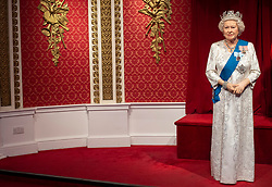 """The empty space left next to the figures of Queen Elizabeth II as Madame Tussauds London moved its figures of the Duke and Duchess of Sussex from its Royal Family set to elsewhere in the attraction, in the wake of the announcement that they will take a step back as """"senior members"""" of the royal family, dividing their time between the UK and North America."""