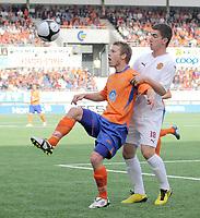 Fotball <br /> European league<br /> 29.07.2010 <br /> Aalesund v Motherwell fc 0-0<br /> color line stadion<br /> <br /> Ross forbes - motherwell fc<br /> Magnus sylling olsen - aalesund<br /> Foto:Richard brevik Digitalsport