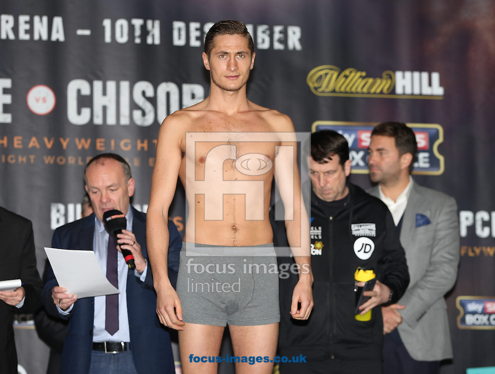 Hosea Burton during the weigh in for the Joshua v Molina IBF Heavyweight title fight at Victoria Warehouse, Manchester<br /> Picture by James Wilson/Focus Images Ltd 07709 548263<br /> 09/12/2016