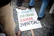 2013/03/23 Roma, manifestazione del PDL Popolo della Liberta'. Nella foto un cartello.<br /> Rome, Popolo della Liberta' (reading The Peolple of Freedom Party) demo. In the picture  a note reading ' judges must be impartial ' - &copy; PIERPAOLO SCAVUZZO