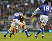 Twickenham, GREAT BRITAIN, Hendre FOURIE, tackling Paul WILLIAMS during the Investec,  Autumn International, Challenge Series, England vs Samoa, at Twickenham Stadium, Surrey on Saturday  20/11/2010   [ Mandatory Credit, Peter Spurrier/Intersport-images]