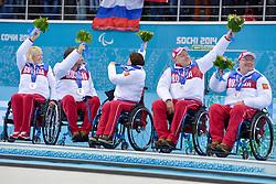 Oxana Savchenko, Marat Romanov, Svetlana Pakhomova, Alexander Shevchenko, Andrey Smirnov, Wheelchair Curling Finals at the 2014 Sochi Winter Paralympic Games, Russia
