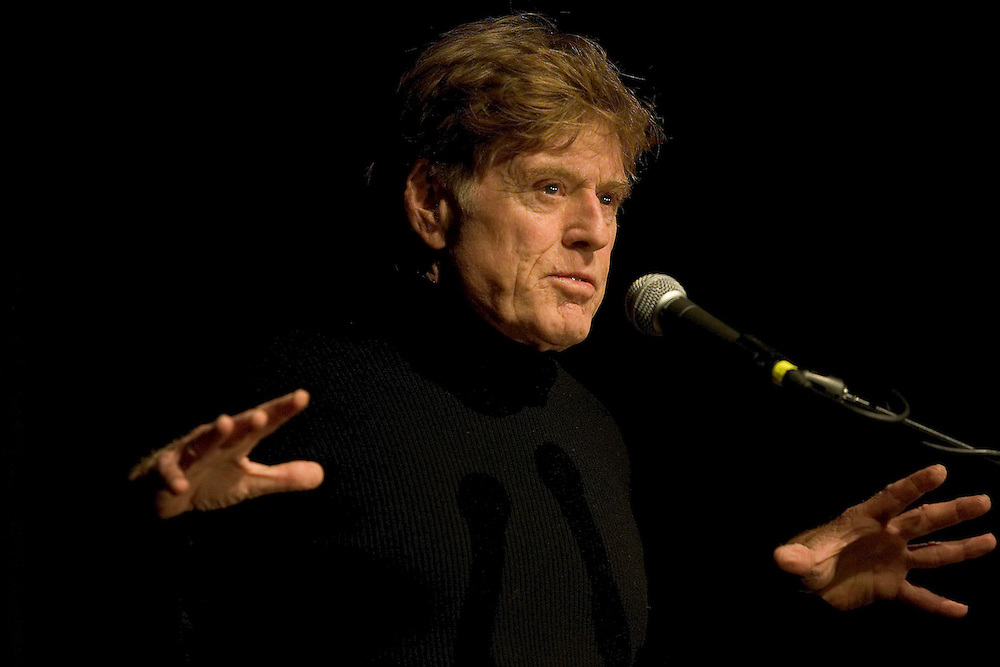 """Robert Redford speaks to the audience prior to the start of the opening night premier of """"Happy Endings"""" at  the Sundance Film Festival Jan. 20, 2005 in Park City, Utah. August Miller/ Deseret Morning News DIGITAL PHOTOGRAPH"""