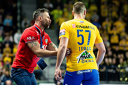 Tomaz Ovcirk head coach of RK Celje Pivovarna Lasko and Patrik Leban of RK Celje Pivovarna Lasko during handball match between RK Celje Pivovarna Lasko (SLO) and of MOL Pick Szeged (HUN) in 9th Round of EHF Champions League 2019/20, on November 24, 2019 in Arena Zlatorog, Celje, Slovenia. Photo Grega Valancic / Sportida