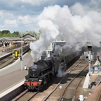 'The Cathedrals Explorer' steam train leaves Perth railway station on it's way to Fort William after it had stocked up with coal and water....13.05.14<br /> Picture by Graeme Hart.<br /> Copyright Perthshire Picture Agency<br /> Tel: 01738 623350  Mobile: 07990 594431