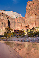 Cliffs of Zion Canyon reflected in the waters of the Virgin River, Zion National Park Utah USA