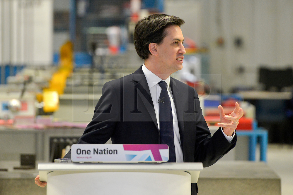 © Licensed to London News Pictures. 14/02/2013. Bedford, UK. Ed Miliband delivers his speech. Ed Miliband MP, Leader of the Labour Party, delivers a major speech at Bedford Training Group in Bedford today, 14th February 2013. In the speech he set out a 'One Nation Labour agenda for rebuilding Britain's economy'. The speech was followed by a Q&A session with Ed Balls, Shadow Chancellor and a tour of the training facility. Photo credit : Stephen Simpson/LNP