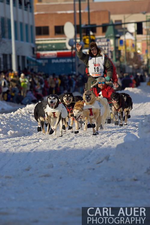 March 7th, 2009:  Anchorage, Alaska: Ray Redington, Jr. of Wasilla, Alaska at the start of the 2009 Iditarod race.