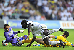 "Swansea City's Wilfried Bony manages to squeeze the ball past Petrolul Ploiesti goalkeeper, Peterson Dos Santos  - Photo mandatory by-line: Joe Meredith/JMP - Tel: Mobile: 07966 386802 22/08/2013 - SPORT - FOOTBALL - Liberty Stadium - Swansea -  Swansea City V Petrolul Ploiesti - Europa League Play-Off EDITORIAL USE ONLY. No use with unauthorised audio, video, data, fixture lists, club/league logos or ""live"" services. Online in-match use limited to 45 images, no video emulation. No use in betting, games or single club/league/player publications"