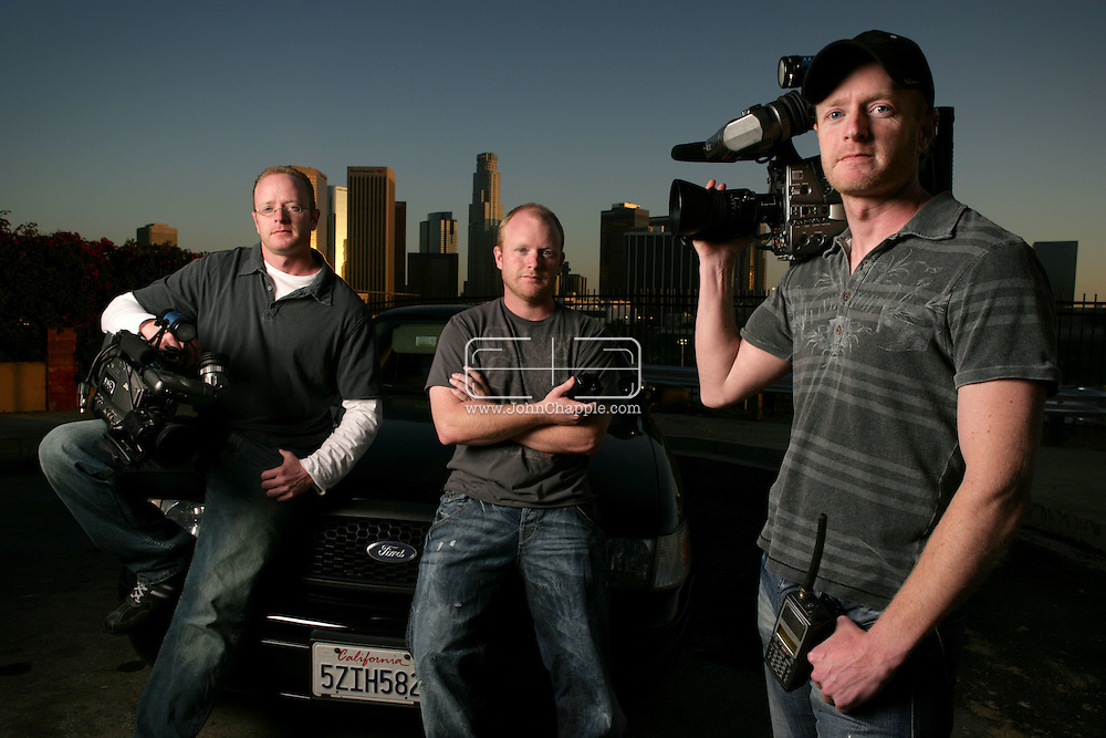 10th April 2008, Los Angeles, California. Three daredevil brothers from Dorset are set to become America's biggest reality TV stars. Howard, Austin and Marc Raishbrook, who risk their lives filming police car chases and shootouts, have been offered a mega bucks deal to star in their own series. Pictured left to Right is Austin, Marc and Howard Raishbrook. PHOTO © JOHN CHAPPLE / REBEL IMAGES.john@chapple.biz    www.chapple.biz