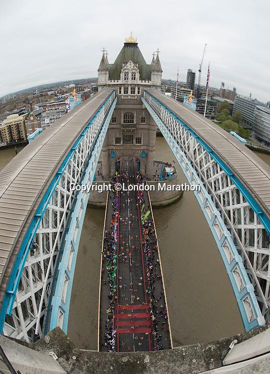 Virgin Money London Marathon 2015<br /> <br /> London Marathon at Tower Bridge<br /> <br /> Photo: Bob Martin for Virgin Money London Marathon<br /> <br /> This photograph is supplied free to use by London Marathon/Virgin Money.