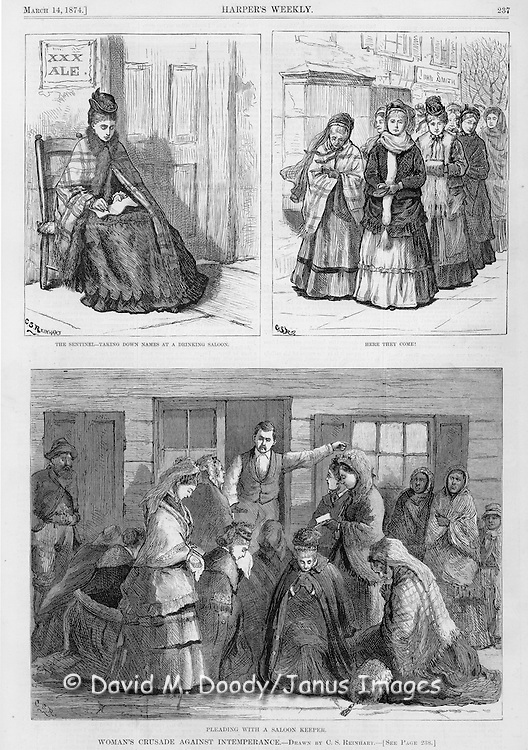 Vintage Illustration:  Praying and Protesting drunkenness at saloons (led by Mrs. Col. Lowe).  Woman's crusade against intemperance later known as The  Woman's Christian Temperance Union (WCTU). The scene is illustrated by Mrs. C. S. Reinhart of the events in Xenia, Ohio. Alcohol abuse, social movements, health, substance abuse, sobriety, bars.  Harper's Weekly 1874
