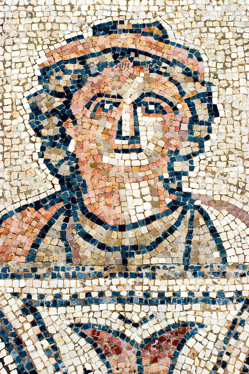 """Volubilis, ancient Roman provincial city in Morocco. Mosaic details from the """"House of Orpheus.""""   Head of a woman, possibly the goddess Hera who made trouble for Hercules.  She looks a bit grim."""