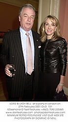 LORD & LADY BELL  at a party in London on 27th February 2001.	OLO  101