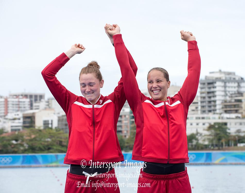 Rio de Janeiro. BRAZIL  Bronze Medalist. DEN W2- Hedvig RASMUSSEN and Anne ANDERSEN,  <br /> 2016 Olympic Rowing Regatta. Lagoa Stadium,<br /> Copacabana,  &ldquo;Olympic Summer Games&rdquo;<br /> Rodrigo de Freitas Lagoon, Lagoa. Local Time 16:39:37  Friday  12/08/2016<br /> [Mandatory Credit; Peter SPURRIER/Intersport Images]