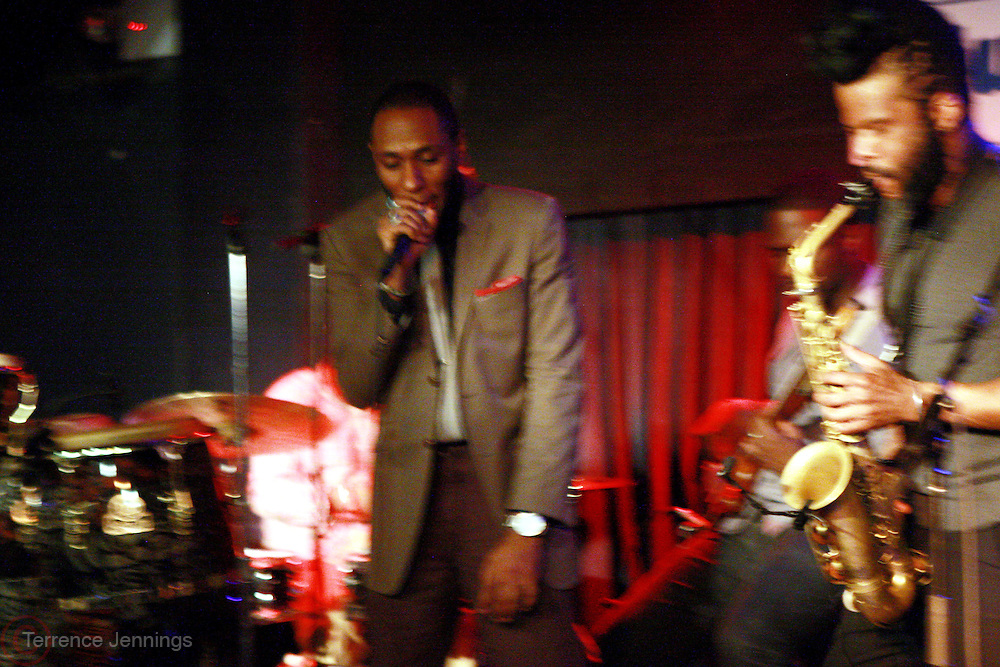 24 February 2011- New York, NY- l to r: Mos Def, Derrick Hodge and K.C. Benjamin perform at the Robert Glasper Experiment Produced in Association with Jill Newman Productions backstage and held at The Blue Note on February 24, 2011 in New York City. Photo Credit: Terrence Jennings/Retna, Ltd..**Exclusive**