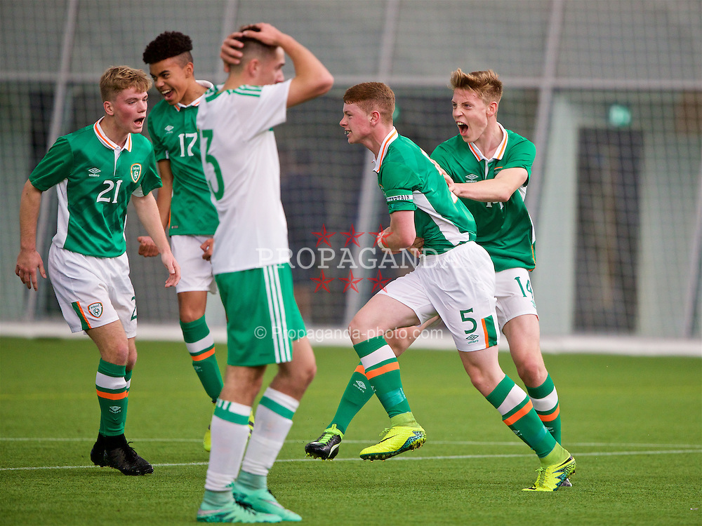 EDINBURGH, SCOTLAND - Tuesday, November 1, 2016: Republic of Ireland's Kameron Ledwidge celebrates scoring the first goal against Northern Ireland during the Under-16 2016 Victory Shield match at ORIAM. (Pic by David Rawcliffe/Propaganda)