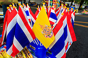 24 NOVEMBER 2012 - BANGKOK, THAILAND:  Thai flags with a flag of the Royal Family for sale during a large anti government, pro-monarchy, protest  on November 24, 2012 in Bangkok, Thailand. The Siam Pitak group, which sponsored the protest, cited alleged government corruption and anti-monarchist elements within the ruling party as grounds for the protest. Police used tear gas and baton charges againt protesters.       PHOTO BY JACK KURTZ