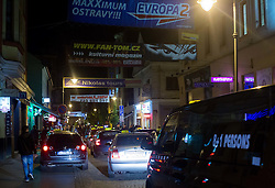 Stodolny street full of fans and taxi at 1 a.m. after Day 7 of 2015 IIHF World Championship, on May 7, 2015 in Centre, Ostrava, Czech Republic. Photo by Vid Ponikvar / Sportida