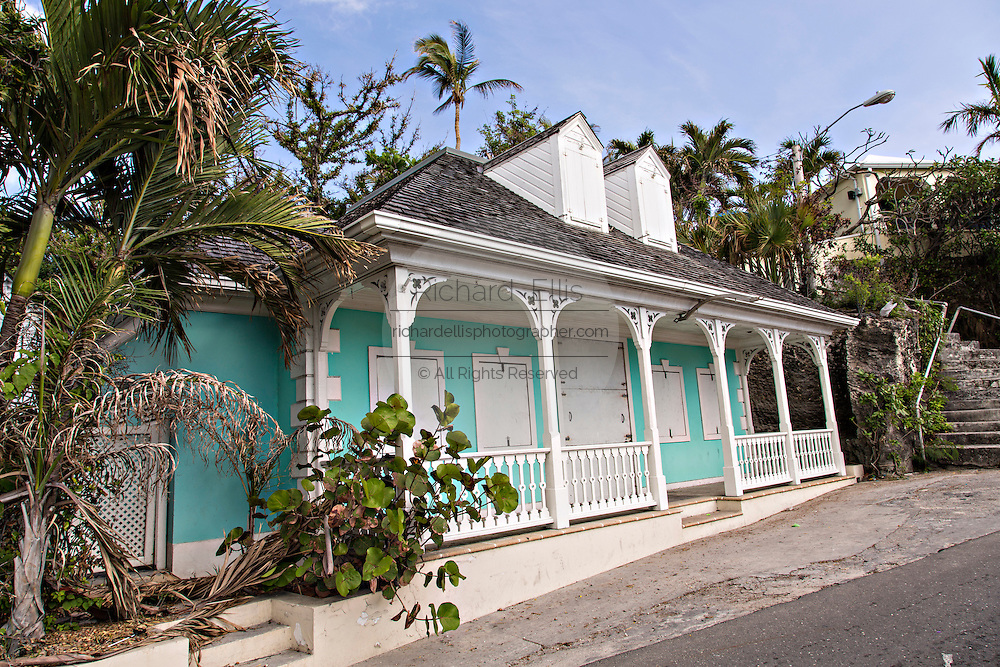 Traditional clapboard houses in Dunmore Town, Harbour Island, The Bahamas