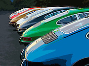 Image of fast back sports cars lined up in a row, Portland, Oregon, Pacific Northwest, Porsche 911, photo illustration