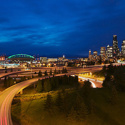 Evening view of highways and skyline. Seattle, Washington