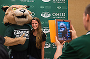 Rufus poses for a photo with a new Bobcat at the start of Bobcat Student Orientation on Friday, June 5, 2015.  Photo by Ohio University  /  Rob Hardin