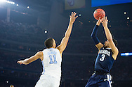 04 APR 2016: Guard Josh Hart (3) of Villanova University shoots over Forward Brice Johnson (11) of the University of North Carolina during the 2016 NCAA Men's Division I Basketball Final Four Championship game held at NRG Stadium in Houston, TX.  Villanova defeated North Carolina 77-74 to win the national title. Brett Wilhelm/NCAA Photos