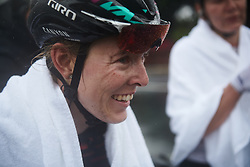 Hannah Barnes (GBR) dries off after her second place finish at GREE Tour of Guangxi Women's World Tour 2018, a 145.8 km road race in Guilin, China on October 21, 2018. Photo by Sean Robinson/velofocus.com