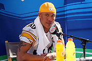 TAMPA, FL - JANUARY 27: Wide receiver Hines Ward #86 of the AFC Pittsburgh Steelers speaks to the media during Super Bowl XLIII Media Day at Raymond James Stadium on January 27, 2009 in Tampa, Florida. ©Paul Anthony Spinelli *** Local Caption *** Hines Ward