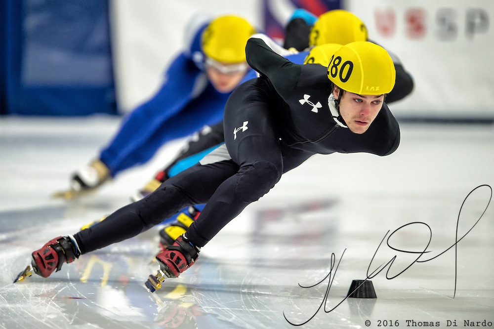 March 20, 2016 - Verona, WI - Adam Callister, skater number 280 competes in US Speedskating Short Track Age Group Nationals and AmCup Final held at the Verona Ice Arena.
